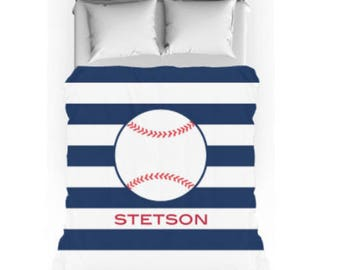 Personalized Duvet Cover or Comforter - Baseball Boys Bedding Sets with matching shams - Sports Boys Bedding