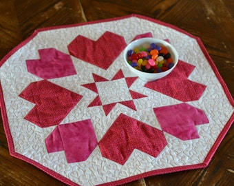 Hearts Quilted Table Runner, Valentine Table Topper, Love Pink Red Star Table Centerpiece