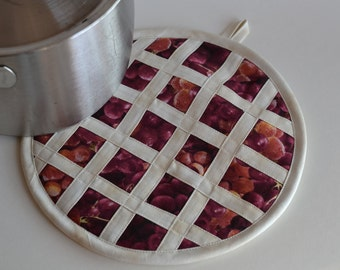 Grape Pie Hot Pad Pot Holder, kitchen fruit decor