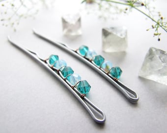 Winter Bobby Pins Set, Blue Hair Pins, Frozen Blue Bobby Pins, For Her, Blue Bobby Pins