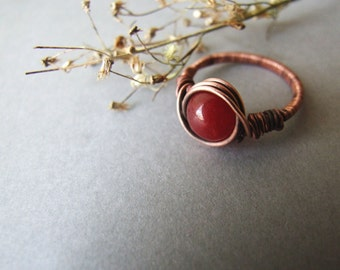 Agate Ring, Red Gemstone Ring, Red Agate Jewelry, Rustic Copper Red Rose Agate Ring