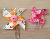 Rainbow Hearts Pinwheel Planner Clips Set of 2 Clips For Journaling Bookmarks