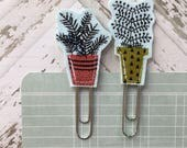 Potted Plants Fabric Planner Clips Coral and Green Pots Set of 2 Teacher Gifts Happy Mail