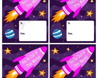 INSTANT DOWNLOAD: Printable Rocket Space Geek Nerd Valentine's Day Valentine Cards