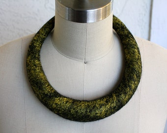 Large felted tubular statememt black yellow gold Necklace wool felt accessory unique jewelry necklace textile fiber present eco modern style