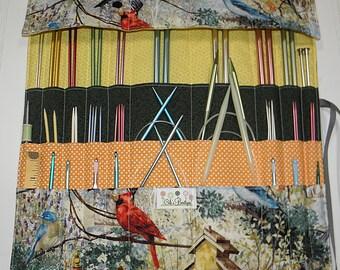 Knitting Needle Case,  Knit/Crochet Needle Storage, 30 Pockets,Knitting Needle Organizer, Birdhouse/Bird Print, Gift for Her
