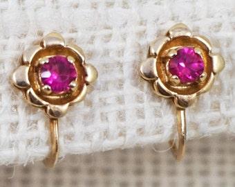 14K Rose Gold Pink Ruby Flower Stud Earrings