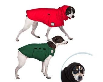 RAT TERRIER Warm Climate Special, Dog Raincoat, Dog Sweater, Dog Hood, Snood, Fleece Coat, Waterproof Dog Coat, Dog Clothing, Small Dog