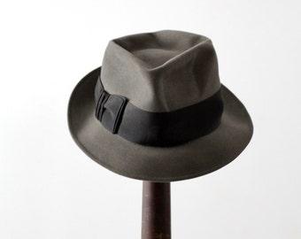 vintage Kevin McAndrew fedora, 1950s gray felt fedora hat