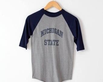 SALE vintage Michigan State t-shirt, 1980s school raglan tee