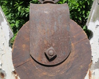 Vintage Wood And Metal Pulley.