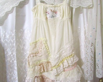 Shabby Lacey Dress, romantic cream and ivory laces, cotton sun dress asymmetrical lace hemline X SMALL JUNIOR