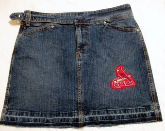 St. Louis Cardinals Mini skirt Vintage denim jeans repurposed jeans 2017 GameDay Apparel