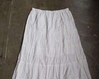 Vtg 90s White Cotton Peasant Bohemian Ruffled Long Prairie Skirt Size Small Medium