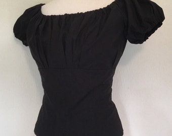 Vintage 1950s inspired black fitted gypsy top XS to XXL Rockabilly VLV