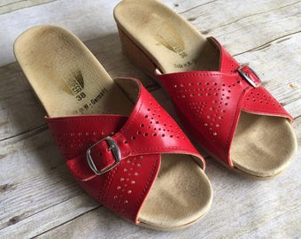 Vintage Red Leather Wedges - Size 38 Women's 7 1/2 7.5