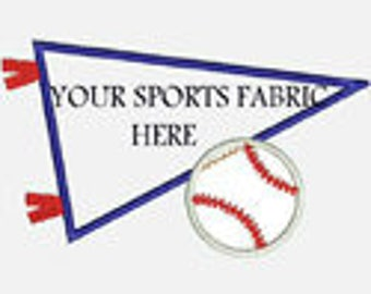 Baseball Pennant..Great for Sports Fabrics...Embroidery Applique Design...Three sizes for multiple hoops...Item1182...INSTANT DOWNLOAD