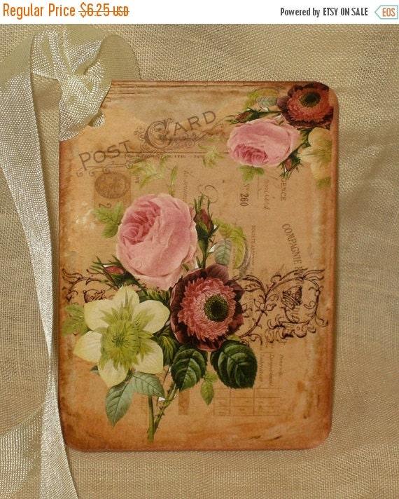 Christmas Sale Floral Postcard Original Design Gift Tag Flower Bouquet Vintage Inspired ECS