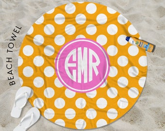 60 Inch Round Beach Towel, Beach Towel, Bath Towel, Towel, Monogrammed Beach Towel, Personalized, Polka Dots, Dotty, Dotted