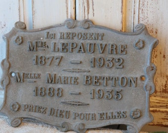 French memorial plaque - metal - 1930s