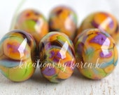 PAIR of lamp work beads...SRA handmade, Caribbean island shades of lampwork beads, soft colors, beads set of (2) for making jewelry 201012