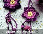 CROCHET PATTERN Flower Rhapsody Necklace - crochet flowers,crochet necklace,crochet pattern, romantic, bohemian, digital download
