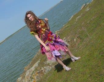 Bohemian Asymmetric freeform crocheted statement lagenlook dress/ tunic sweater  wearable art piece one-of-a-kind dress gypsy