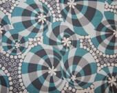 cotton quilt fabric Lou Lou Thi abstract print 18 in X 44 in Anna Maria Homer Free Spirit half yard aqua grey gray circle white floral dots