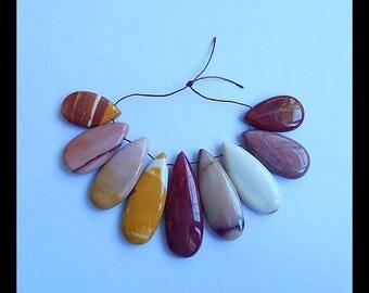 SALE 9 PCS Mookite Jasper Pendant Bead Set,Necklace beads,42x15x6mm,25x15x6mm,39.5g(b0570)