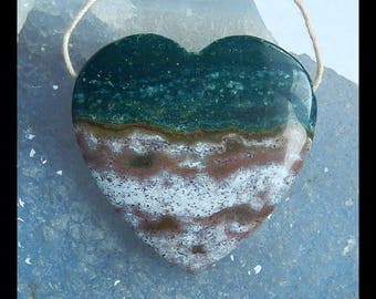 Natural Ocean Jasper Gemstone Heart Pendant Bead,35x34x9mm,15.3g(e0533)