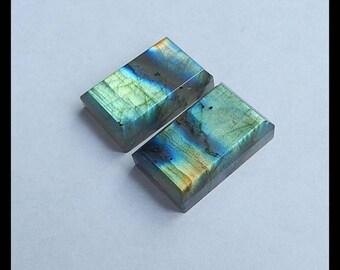 Labradorite Faceted Gemstone Cabochon Pair,21x14x5mm,8.62g