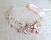 Rose gold Leaf Vine Bridal Headpiece. Boho Delicate Crystal Pearl wedding Wreath. Halo Headband. Rhinestone Floral Hairpiece. TEREZ