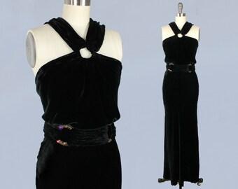 1930s Dress / 30s Black Liquid Silk Velvet Evening Gown / RARE Halter Neck / Open Back / AMAZING