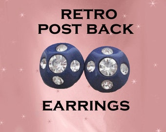 Blue Earrings Retro Big Studs with Rhinestones - Handmade with 40s Vintage - Postback Earrings - Big Stud Earrings Gift for Mom in Gift Box