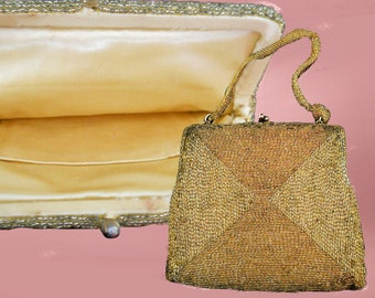 Vintage Gold Beaded Purse - 1950s Evening Handbag with Beading