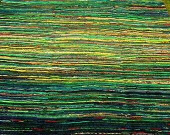 Large handwoven rag rug , Vintage look  230 cm x 320 cm, ,,Midsummer''  , Made to order