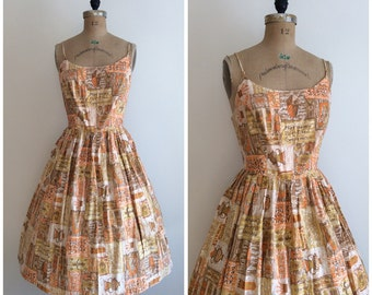 Vintage 1950s Novelty Print Cotton Dress 50s Sundress