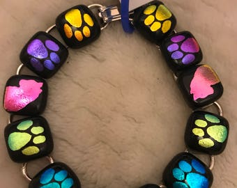 "8"" Dichroic Glass Bracelet With Paw Prints and Cat Profiles"