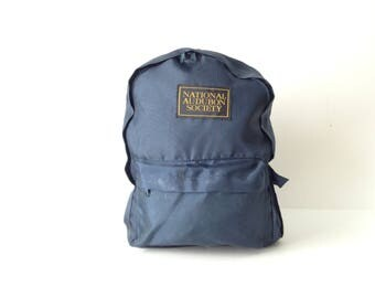 80s blue BACKPACK audubon society KNAPSACK book bag nylon