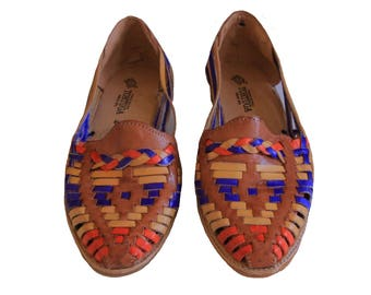 Leather Huaraches Sandals Multi Color Woven Sandals Flats - Size 9 Women