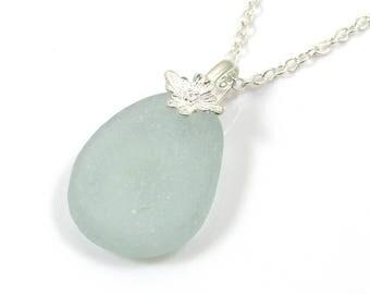 Seafoam Blue Sea Glass | Sterling Silver Necklace | FELICIA | Mothers Day | Sea Glass  Necklace | Sea Glass Jewelry | Simple Jewellery