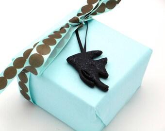 Shiny Black Angelfish Gift Wrap Add On, Unique Handmade Gift Tag Accessory, Fresh Water Black Glittered Angelfish Mini Keepsake Ornament