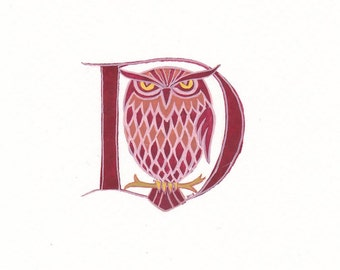 Letter D in burgundy with an owl handmade  birthday gift