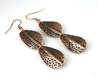 Twisted Copper Leaf Earrings, Antiqued Copper Paddle Earrings, BOHO Copper Earrings, Textured Earrings