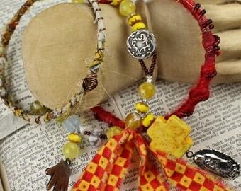 Urban Gypsy Tribal Bohemian Bracelet Set Yellow Sunshine Tribal Inspired Gypsy Bracelet Set