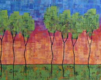 Acrylic Landscape Painting ... Trees ... Large 30 x 48 Art ... Sunset Painting ... Contemporary Trees