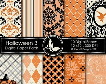 40% off Halloween 3 Paper Pack - 10 Digital papers - 12 x12 - 300 DPI //////3
