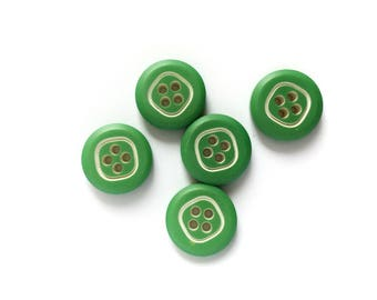 5 Green Vintage Buttons, 17mm