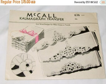 ON SALE Vintage McCall Kaumagraph Transfer Pattern #636 Cut Work Designs for Pillow Cases or Towels Unused
