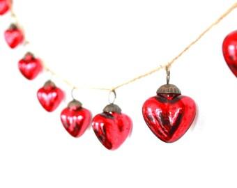 Red Garland . Silver Garland . wedding garland . mercury glass garland . heart garland . silver mercury glass . red mercury glass